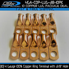 """10 4 Gauge 3/8"""" Hole 100% OFC Copper Ring Terminal  4GA Lug Battery Connector"""