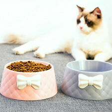 Pet Dog Feeding Food Bowls Puppy Lovely Bowknot Feeder Dishes Cat Bowl Durable