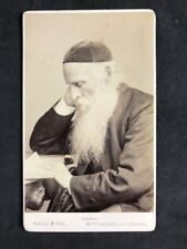 Rare Carte De Visite CDV: Maull & Fox: Jewish Man Rabbi RIDLEY Kippah Hat 1908