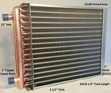 """22x30 Water to Air Heat Exchanger~~1"""" Copper Ports w/ EZ Install Front Flange"""