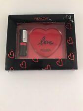Revlon Love Is On Gift Set Super Lustrous Lipstick Compact Mirror Damaged Box