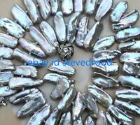 "Seltene natürliche grau abnorme Biwa Akoya Süßwasser Perlenkette 18 "" AAA"
