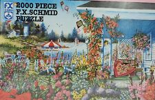 "Vintage NEW FX Schmid 2000 Piece Jigsaw Puzzle ""Summer Memories"" Garden Sailboat"