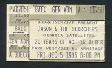 1986 Jason & The Scorchers Georgia Satellites Concert Ticket Stub Park West