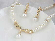 Pearl Rhinestone Crystal Necklace Earrings Jewelry Set Girls Teens Bridal Party