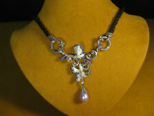 BARBARA BIXBY NECKLACE BUTTERFLY LEATHER CORD FLOWER CIRCLE PEARL Gemstone