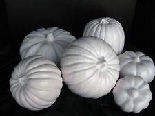 NEW 2017 Made in USA Ceramic Pumpkin Decorator Ensemble 6pc White Satin Glaze