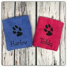 PERSONALISED luxury Pet TOWEL Dog Cat CHOOSE YOUR COLOURS Wash Bath Groom Clean