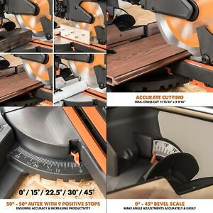 15 amp 10 in. sliding compound miter saw with laser guide, dust bag, 10 ft.
