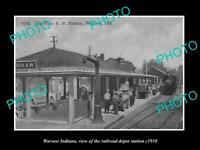 OLD POSTCARD SIZE PHOTO OF WARSAW INDIANA THE RAILROAD DEPOT STATION c1910