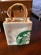 NEW  Starbucks 2018 Christmas Ceramic Starbuck's Bag Ornament / Gift Card Holder