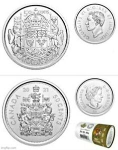 2021 Uncirculated Canadian 50 Cent Coin x2 One of each from roll.
