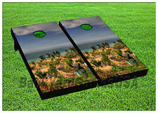 Vinyl Wraps Cornhole Boards Decals Humid Beach Coast Bag Toss Game Stickers 815