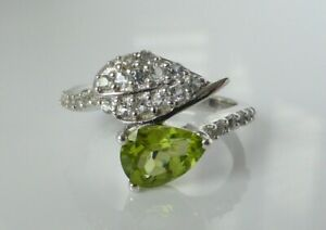 Fine Beautiful Chunky Sterling Silver & Peridot Floral Leaf Ring Size N 1/2