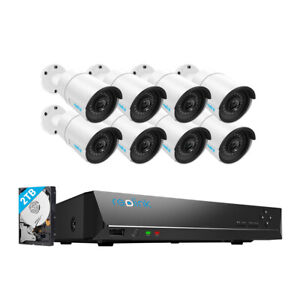 Reolink 8CH POE 5MP Security Camera System Kit 2TB HDD Video Recording Outdoor