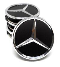 x4 Mercedes 75mm Matte Black Chrome Star Wheel Badge Emblem Logo Centre Cap