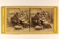 Scena Da Genere Povero Monaci c1860 Foto Stereo Vintage Albumina