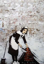 "BANKSY STREET ART *FRAMED* CANVAS PRINT Maid sweeping 18x12"" portrait"