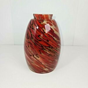 Beautiful 6 inch swirl Glass Lampshade Red and Gray 4.5 inches round