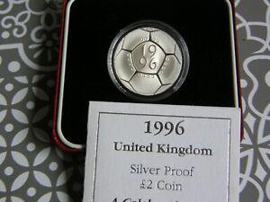 1996 Royal Mint British European Football £2 Two Pound Silver Proof Coin Box Coa