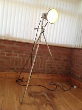 6 Foot High Retro Vintage Metal Tripod Stage Spotlight Industrial Floor Lamp