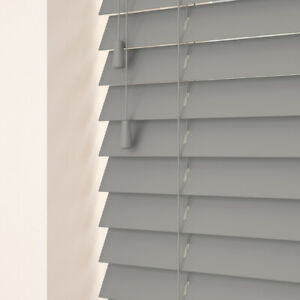 Venetian Fauxwood blinds 35mm & 50mm slats up to 2.4metres wide Dark Grey
