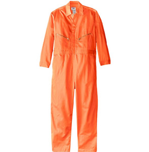 WALLS WORK MEN COVERALL ORANGE 36 TALL 36T LONG SLEEVE TWILL MASTER MADE NEW NWT