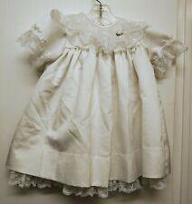 Vintage C. I. Castro & Co Girls 2T Lace Dress Satiny White Baptism Christening