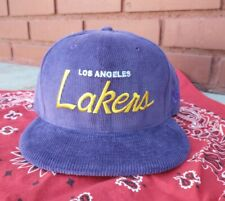 Vintage  Los Angeles Lakers NBA Corduroy New Era Snapback Hat