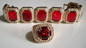Men's bling gold finish stones/ Red Ruby fashion dressy party bracelet & ring