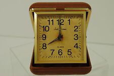 Vintage Seth Thomas Travel Alarm Clock Non-working Parts Only Brown Case