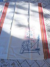 embroidered vintage kitchen linen tea dish towel spinning wheel china cupboard