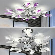 LED Kristall Decken Lampe Wohn Ess Zimmer Beleuchtung Chrom Blätter Flur Leuchte