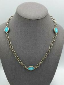 """Lagos Caviar 18K Gold Sterling Silver Turquoise Doublet 20"""" Length Necklace"""