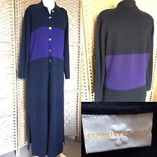 "COUNTRY CASUALS Navy Purple MAXI Cardigan Sz L 14 L54"" 50% Wool COLOUR BLOCK"