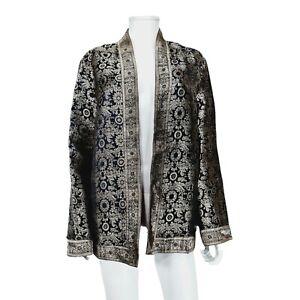 East Black Gold Embroidered Pattern Open Jacket Sz M / L Silk / Cotton Blend