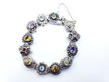 Sterling Silver 925 Geometric Colorful Gemstone Marcasite Pave Bracelet