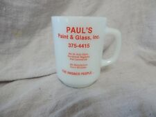 Vintage Anchor Hocking Advertising Mug Paul's Paint and Glass Fire King Milk