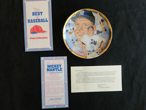 "Mickey Mantle - New York Yankees - 1993 Hamilton Collection 6"" Plate w/ COA"