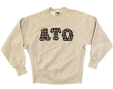 VTG ATO Alpha Tau Omega Fraternity Plaid Crewneck Sweatshirt XL Lee CROSSGRAIN