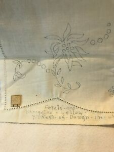 Antique  Linen Table Runner Embroider Or Fabric Paint DIY Border Holes —-Stamped