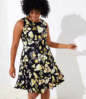 NWT $69 Ann Taylor Loft Plus Golden Floral Flounce Hem Dress Black Yellow Sz 24