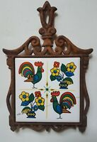 Retro Vintage Chenny Rooster & Flowers Cast Iron Trivet Footed Hot Plate w Tile