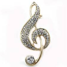 Treble Clef Music Note Brooch Pin for Musicians Gold Tone Clear Pave Rhinestones