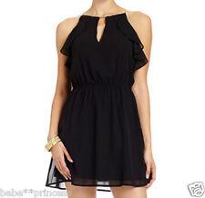NWT bebe black ruffle halter cutout flare embellished v neck top dress sheer XS