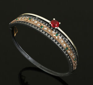 SPECIAL SERIES TURKISH RUBY .925 SILVER & BRONZE BANGLE BRACELET #71595