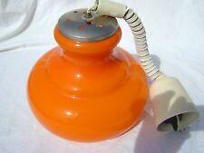 LAMPE SUSPENSION opaline orange intérieur Blanc VINTAGE 60- 70 COMPLETE