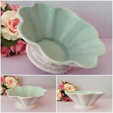 Vintage 1950's MCP MINGAY AUST POTTERY Large Textured Scalloped Bowl LILAC/AQUA