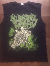 Municipal Waste 2010 Tour Tshirt Large Sleeves Removed Battered Print