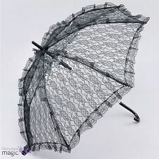 Black Lace Victorian Lady Steampunk Parasol Umbrella Fancy Dress Costume Prop